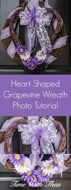 Heart Shaped Grapevine Wreath Photo Tutorial ~ Detailed instructions showing how to make a gorgeous layered wreath and a beautiful coordinating big bow. / timewiththea.com