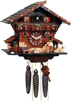 River City Clocks M448-12 One Day Musical Cuckoo Clock Cottage with Man Chopping…