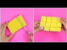 Taglia una spugna in questo modo: il trucchetto geniale da provare subito - YouTube