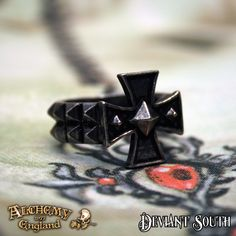 Last Chance! Alchemy Gothic AG-R196 Cross Of Iron  Iron nail-heads reinforce the Germanic cross pattÉe, further intensifying the fortitude of its martial significance.