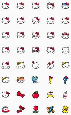 Hello Kitty comes to LINE with her own set of emoji! Anime Stickers, Kawaii Stickers, Cat Stickers, Emoji Drawings, Disney Drawings, Melody Hello Kitty, Hello Kitty Tattoos, Hello Kitty Backgrounds, Cute Easy Drawings