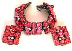 Juliana Pink AB Rhinestone Bracelet Earring Set Huge #Juliana #Statement