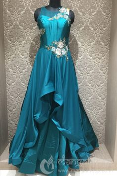 Readymade Teal Blue Silk Burgundy Style Gown For Reception Function Indian Gowns Dresses, Pakistani Dresses, Lehenga Designs, Saree Blouse Designs, Indian Designer Outfits, Designer Dresses, Indowestern Gowns, Simple Gowns, Western Dresses