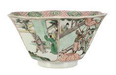 A Chinese Famille Verte hexagonal bowl, Kangxi period (1662-1722)