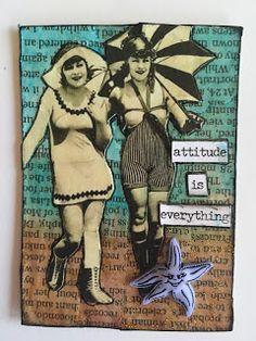 Vintage bathing suit ladies ATC artist trading card. #swap