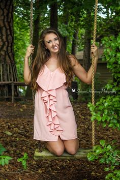 I like this image because of the swing. It is a cute idea to put the model on the swing if you want a youthful feel to an image. Also the smile on her face helps with youthful feel to the image. Graduation Photography, Senior Photography, Photography Ideas, Picture Poses, Photo Poses, Picture Ideas, Photo Ideas, Senior Photos Girls, Senior Girls