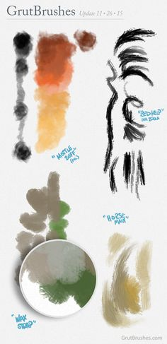 Some of the new Digital Artist's Photoshop Brushes in the shop for November on   grutbrushes.com
