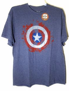 MARVEL CAPTAIN AMERICA Blue T-SHIRT Marvel Comics Size: XL #MARVEL #GraphicTee