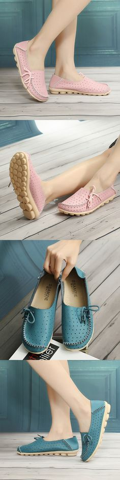 US$15.32  Butterflyknot Breathable Soft Lace Slip On Soft Pierced Flat Loafers