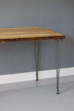 Reclaimed Wood Table / Desk With Hairpin Legs. Built by DendroCo