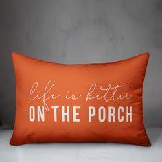 Laurel Foundry Modern Farmhouse Adamski Life is Better on the Porch Indoor/Outdoor Lumbar Pillow & Reviews | Wayfair Throw Pillow Sets, Lumbar Pillow, Cushion Pads, Outdoor Throw Pillows, Indoor Outdoor, Life Is Good, Decorative Pillows, Good Things, Carrie