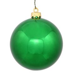 Felices Pascuas Collection Shiny True Green UV Resistant Commercial Shatterproof Christmas Ball Ornament 6 inch (150mm)
