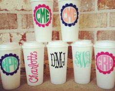 Personalized 20oz Plastic Coffee Tumbler hot pink by Dawlens
