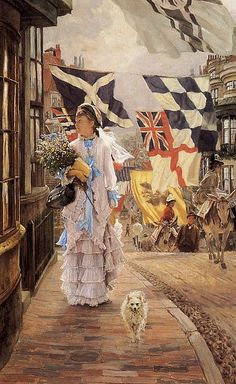 James Tissot, A Fete Day at Brighton.  1875/78  Private collection; summerdress with blue bows, a favourite of Tissot's. Modelled by both Kathleen Newton and others, it features in a variety of compositions wit blue or yellow ribbons.