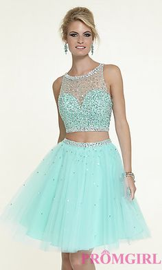 Short Two Piece Open Back Dress by Mori Lee at PromGirl.com