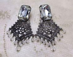 Vintage Antiqued Filigreed Silver Glass Chandelier Statement Clip-On Earrings #Unbranded #Chandelier