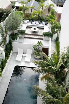 Terrace Garden Design, Tropical Garden Design, Pool Landscape Design, Tropical Pool, Landscaping Around Pool, Swimming Pool Landscaping, Spanish Revival Home, Swimming Pool House, Classic House Design