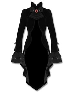 Punk Rave Gothic Jacket Tailcoat Cloak Black Velvet Vampire Knight Lace Bustle in Clothes, Shoes & Accessories | eBay