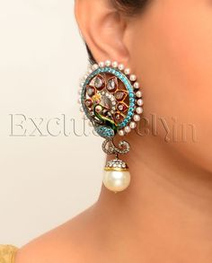 Peacock Earrings with Pearl Drops - Exclusively In