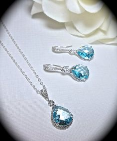 Aquamarine - Necklace and Earring set - Teardrop set - Sterling Silver - Bridal Jewelry - March birthstone - Gift -