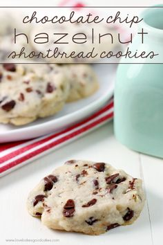 These Chocolate Chip Hazelnut Shortbread Cookies are perfect for Christmas cookie trays!