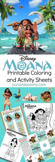 Moana Printable Coloring Sheets and Activity Pages - Pura Vida Moms