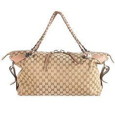 Gucci GG Fabric Bamboo Bar Large Shoulder Bag