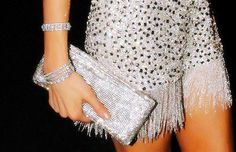 Sparkly clutch, dress, and accessories
