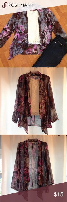 Flowy floral jacket Precious and pretty, this flowy floral jacket is the perfect additional to a simple outfit. It's kind of sheer and has asymmetrical lapels for beautiful movement. 100% polyester, EUC! Blue Velvet Other