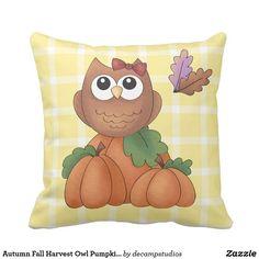 Autumn Fall Harvest Owl Pumpkin Yellow Plaid Throw Pillow - pillows home decor diy cyo pillow design Plaid Throw Pillows, Diy Pillows, Custom Pillows, Decorative Throw Pillows, Fall Harvest, Autumn Fall, Owl Nursery Decor, Owl Pumpkin, Handmade Home Decor