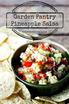 Make use of delicious canned crushed pineapple and fresh produce in this fabulously fast and flavourful Garden Pantry Pineapple Salsa. It's great as a tortilla chip dip or served on grilled, broiled, fried or roasted fish or meat, or as a topping for black bean soup or chili among other things! Plus a $100 Crate and Barrel gift card giveaway!