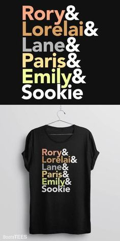 This Gilmore Girls t-shirt features the names of the Stars Hollow female characters names: Rory Gilmore, Lorelai Gilmore, Lane, Paris, Emily and Sookie. It's the perfect gift for any Gilmore Girls fan.