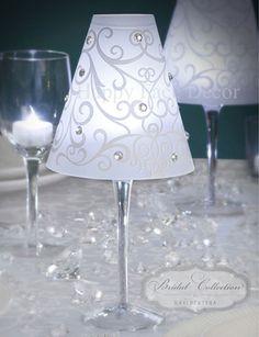 24 Wine Glass SWIRL Vellum SHADES by David Tutera WEDDING Party Table Decoration