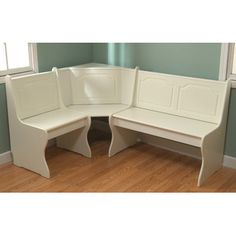 Breakfast Nook Corner Dining Set, Antique White Image 2 of 4 Kitchen Booths, Kitchen Benches, Dining Bench, Entryway Bench, Dining Room, Banquette Dining, Kitchen Seating, Kitchen Shelves, Corner Dining Set