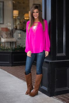 pink top Cute Blouses For Work, Blouses For Women, Boots Beauty, Mint Julep Boutique, Work Blouse, Ladies Boutique, Pink Tops, Classy, Clothes