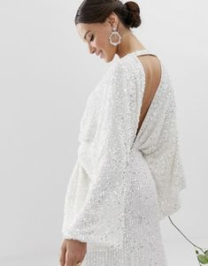 Browse online for the newest ASOS EDITION sequin kimono sleeve wedding dress styles. Shop easier with ASOS' multiple payments and return options (Ts&Cs apply). Asos Wedding Dress, Wedding Dress Trends, Wedding Dress Shopping, Wedding Dress Sleeves, White Wedding Dresses, Wedding Dress Styles, White Sequin Dress, Sequin Kimono, Kimono Dress