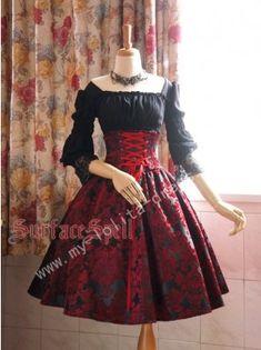 surface spell dark prints high waist lolita skirt