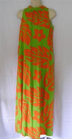 Fashions of Hawaii Vintage Neon Orange Green Womens Maxi Dress MuuMuu S-M