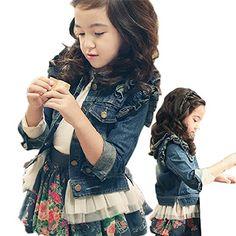 2adfda74a16fe ZhaoKai Big Girls Denim Jean Jacket Lace Outwear 子供服