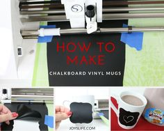 Learn how to make Chalkboard Vinyl Mugs & create your own fun messages! Perfect for a TruMoo Try It Hot Chocolate Drink! Make A Chalkboard, Vinyl Projects, Hot Chocolate, Create Your Own, Cricut, Joy, Mugs, How To Make, Crafts