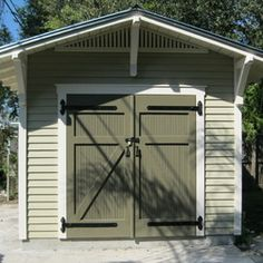 Garden Shed Doors Design Ideas, Pictures, Remodel, and Decor Storage Shed Decorating Ideas, Shed Door Design Ideas, Shed Design Plans, Shed Plans, Door Ideas, Storage Ideas, Pergola Plans, Diy Pergola, Craftsman Sheds
