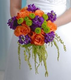maybe replace the purple with black. or just all orange with the fun green.... halloween wedding