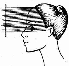 схема первого этапа стрижки «Каскад» на длинные волосы