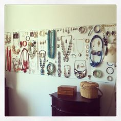 Jewelry is Art, Jewelry As Art, Jewelry Organization. I want a wall of jewelry :)