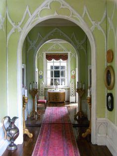 Lime Hallway with Pink Rug