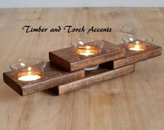 Table décor, You can add a modern touch to your table or mantel with this wood bud vase votive holder made from reclaimed pallet wood. Will also make a great gift for the wood anniversary. This listing includes the wood vase votive holder, 1 bud vase, 2 Wood Tea Light Holder, Wooden Candle Holders, Votive Holder, Small Wood Projects, Scrap Wood Projects, Beginner Wood Projects, Woodworking Projects, Welding Projects, Modern Centerpieces