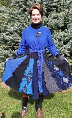 Black and Cobolt Recycled Sweater Coat and by WearableArtbyDenise