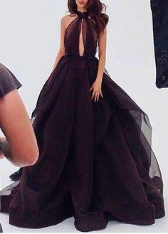 Sexy Prom Dress A-line Black Halter Long Evening Dress Prom Dress