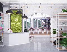 Gift Shop Interiors, Flower Shop Interiors, Flower Shop Design, Coffee Flower, Yoga Studio Design, Flower Boutique, Flower Studio, Flower Fashion, Store Design