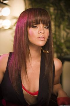 Blunt Bangs Hairstyles #rihanna #hairstyle